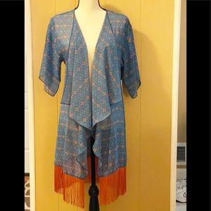 NWT LuLaRoe Sheer kimono w/fringe
